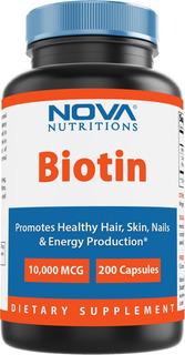 Biotina 10.000 Mcg 200 Cáps Nova Nutritions Importada