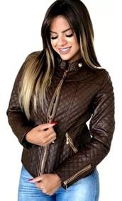Jaqueta De Couro Feminina Plus Size P Ao G5 Casaco Frio Top