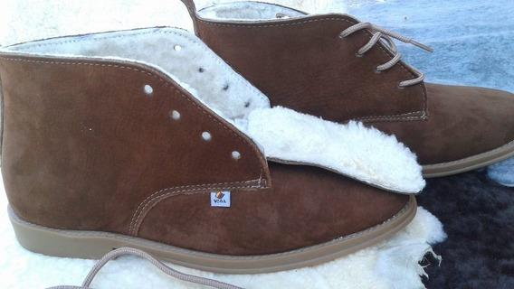 Botina Bota Natural Couro Lã Calçado Inverno