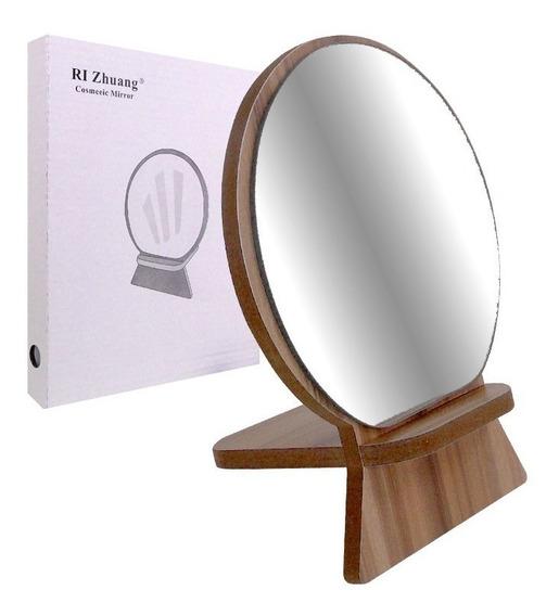 Espejo Redondo Con Base De Madera Oferta Calidad