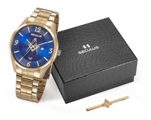 Relógio Seculus Masculino 20762gpskda1 Dourado Maçonaria