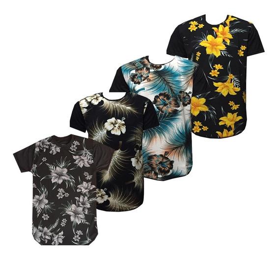 Kit 04 Camisa Masculina Floral Long Line Estampadas Atacado