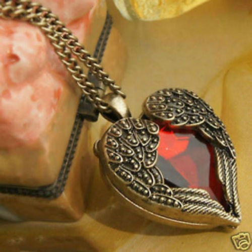 Collar Dije Alas Angel Corazon Rojo Porta Foto