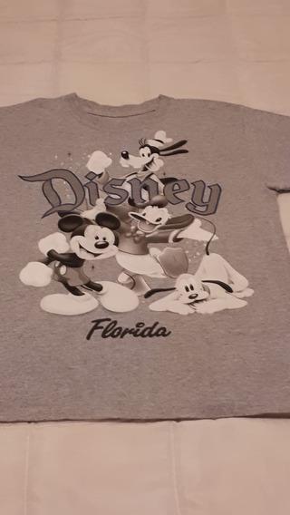 Remera Con Dibujos De Disney En Color Gris, Cuello Redondo.