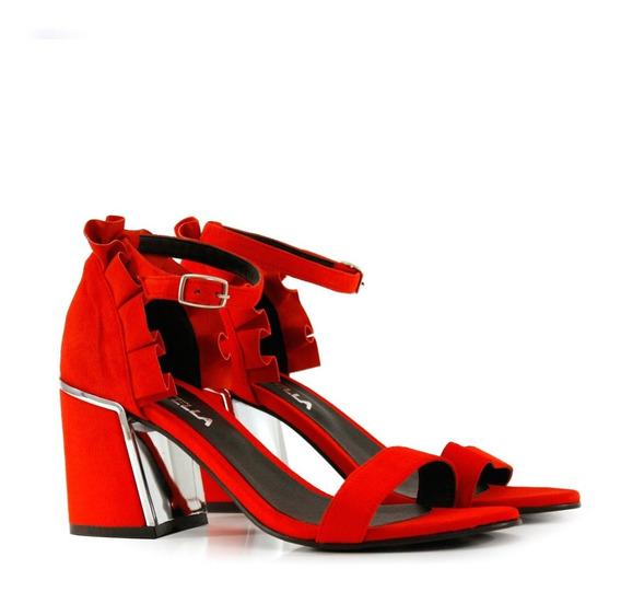 Sandalias De Gamuza En Rojo