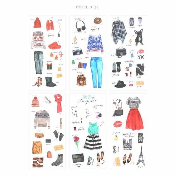 6 Peças Adesivo Paris Nova York Estilo De Vida Moda