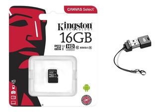 Cartão Kingston Micro Sd 16gb Classe 10 Uhs-i Minileitor Usb