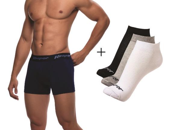Kit 5 Cuecas Boxer Keeper Microfibra + 3 Pares De Meias