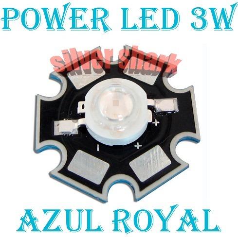 10 Pçs Power Led 3w Azul Royal Dissipador De Calor Estrela