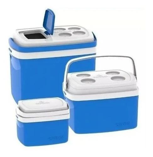3 Caixa Térmica Cooler 32 L 12 L 5 Litros Combo Soprano Azul