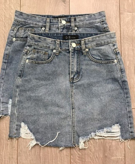 Saia Jeans Cintura Alta Curta Destroyed Instagram