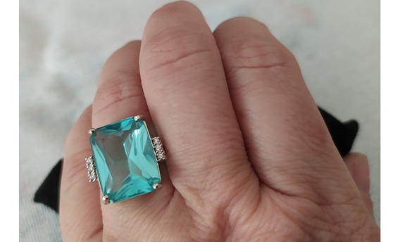 Anel De Prata 925, Com Zircônia Na Cor Topázio Azul