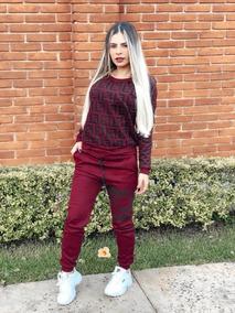 Conjunto Fendi Moda Blogueira Lindo Moletom Feminino Inverno