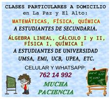 Clases A Domicilio De Matemáticas, Física, Química, Cálculo