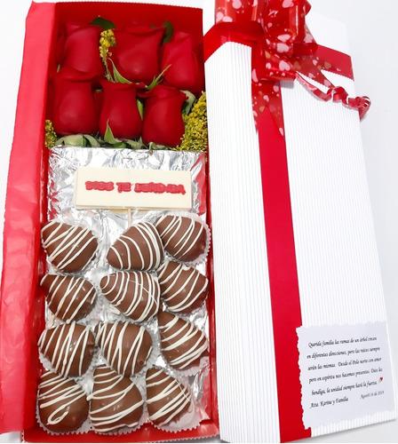 Arreglos Florales Caja Rosas+tarjeta+ Fresa Choc +dom Gratis
