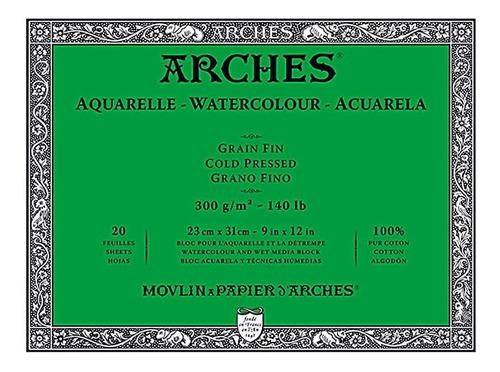 Papel Aquarela Arches Grano Fino 300gr 20fls 23x31cm