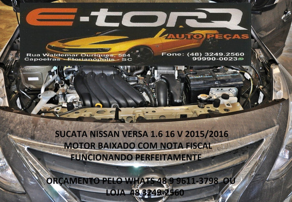 Sucata Nissan Versa 1.6 16v 2015 Baixado