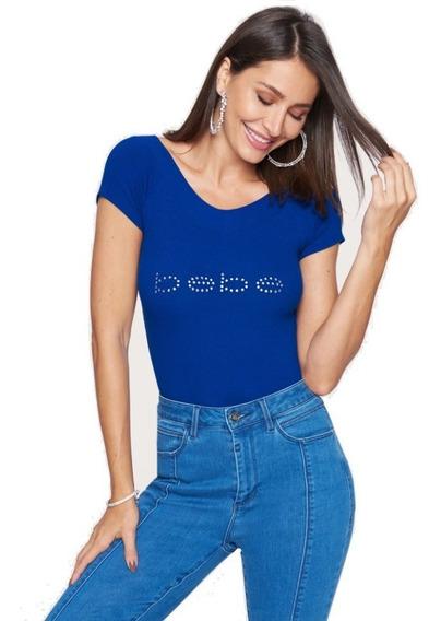 Blusa Bebe Original Logo Brillos Cuello En V Original 100%