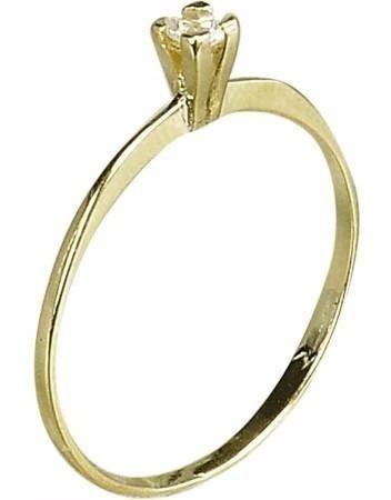 Anel Solitário Zircônia Luxo Florenzza Em Ouro 18 K
