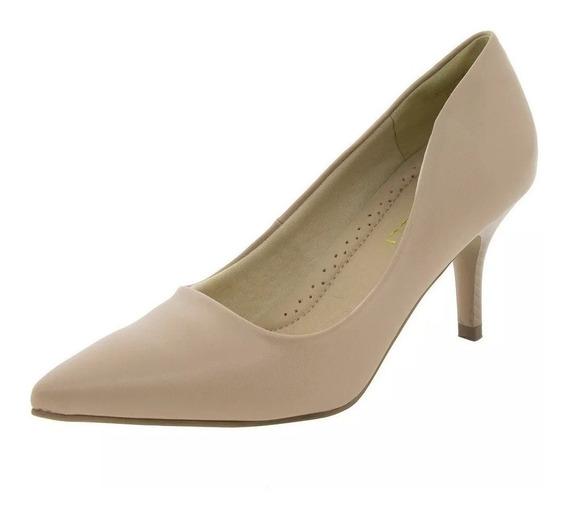 Sapato Feminino Salto Médio Areia Facinelli - 62501