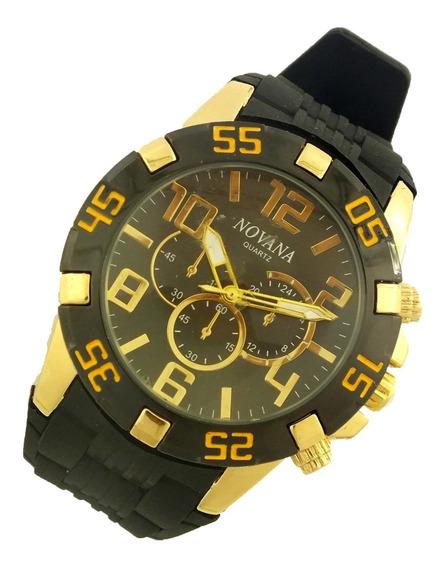 Relógio De Pulso Masculino Novana Pulseira Em Borracha B5714