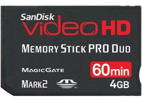 Cartão Memory Stick Pro Duo 4gb Sandisk Video Hd High