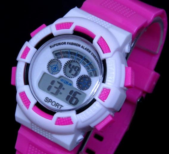 Relógio Digital Infantil Original Rosa Luz Alarm Sport Shock