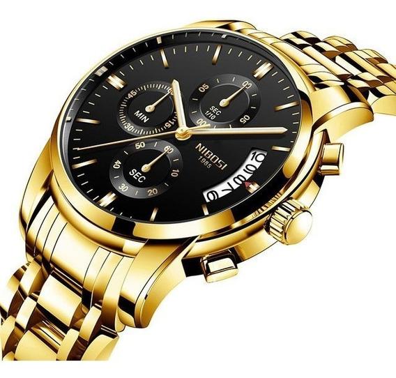 Relógio Nibosi Homem Original Dourado Promoção P/entrega