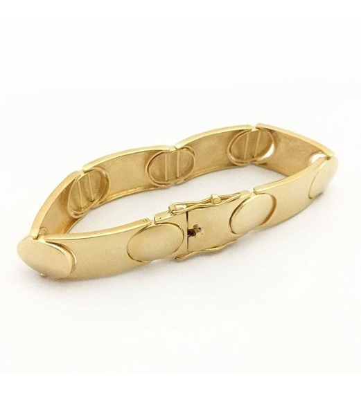 Bracelete Grosso 17mm Folheado A Ouro 18k Garantia De 1 Ano
