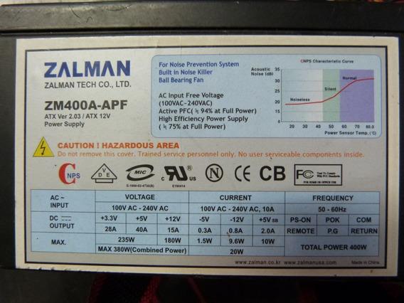 Fonte Zalman Zm400a-apf Com Defeito (para Aproveitar Peças)