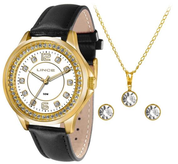 Relógio Lince Couro Preta Madre Pérola Stras Lrc4398l Kt25
