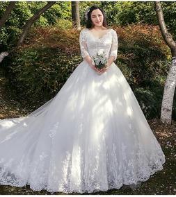 Vestido De Noiva Plus Size Princesa Rendado Barato 01