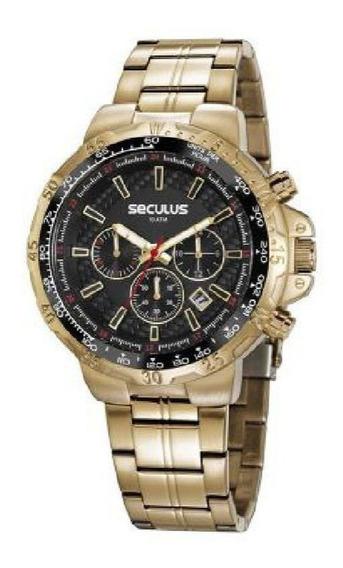 Relógio Seculus Masculino Esportivo Dourado 20780gpsvda1