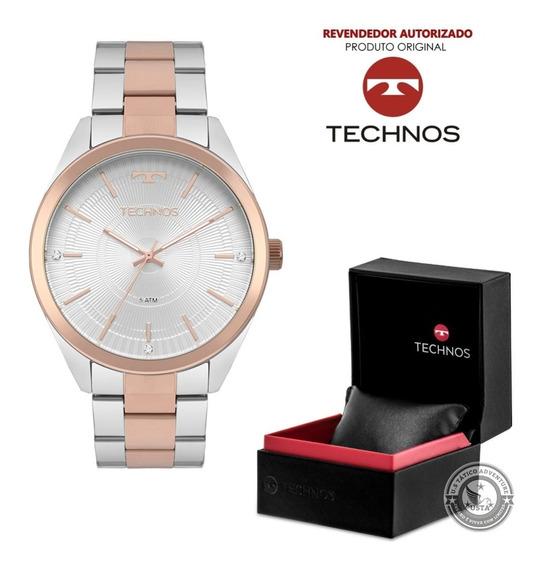 Relógio Technos Prata Rose Feminino Elegance 2036mkc C/ Nfe