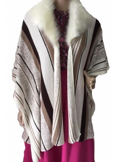 Pala Poncho Capa Feminino Lã Com Pele Prenda Moda