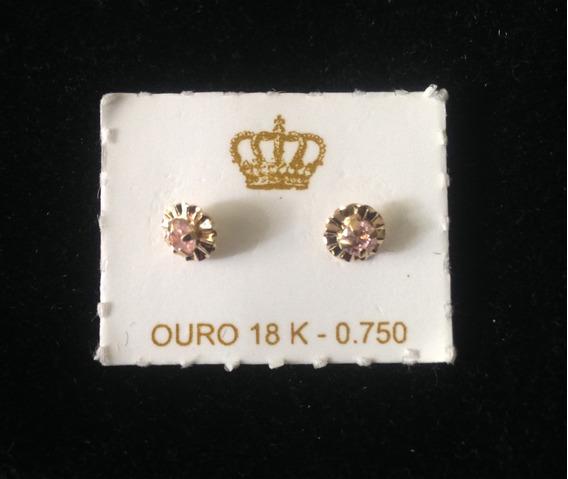 Brinco Infantil Com Zirconia Rosa - Ouro 18k - Tarracha Baby