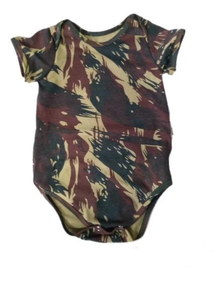Body Camuflado Exército Manga Curta - Bebê