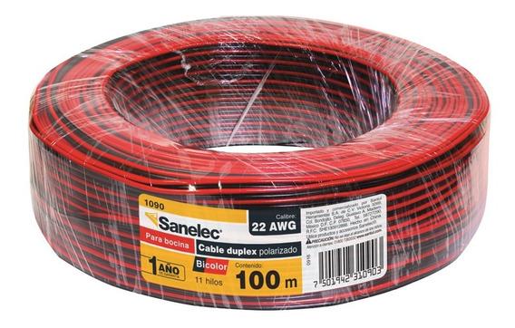 Cable Para Bocina 22awg Bicolor Negro Rojo Sanelec