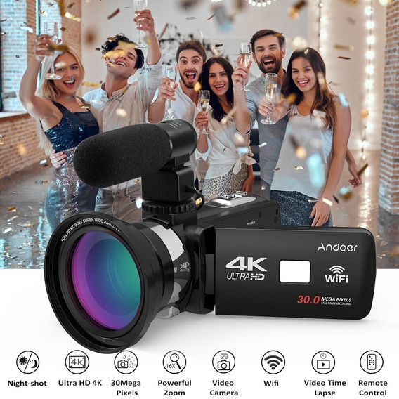 Camera Digital Andoer 4k 30 Mp 16x Zoom Ultra Hd Microfone