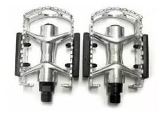 Pedal P/ Bicicleta Mtb Alumínio Polido Ou Preto 9/16 Grosso