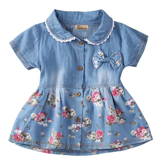 Lindo Vestido Jeans Floral Para Bebês