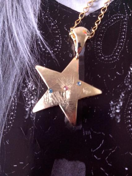 Colar Corrente Com Pingente Estrela Zirconias Coloridas