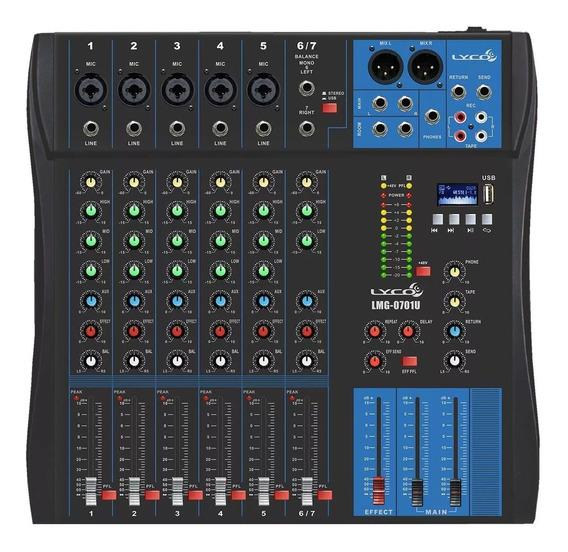 Mesa De Som / Mixer 7 Canais C/ Usb Lmg-0701u - Lyco I9som
