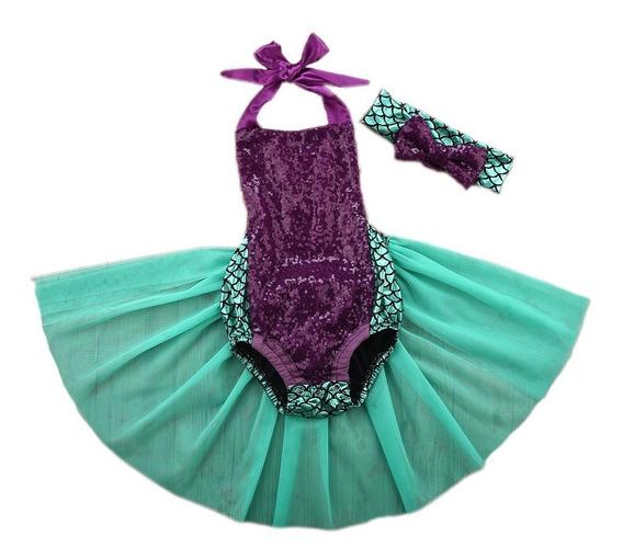 Sirenita Outfits Traje De Baño Para Niña Lentejuela