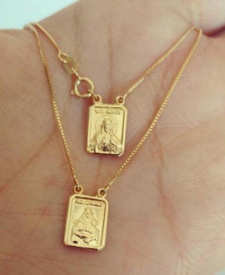 Escapulário 60 Cm Em Ouro 18k Plaquinhas