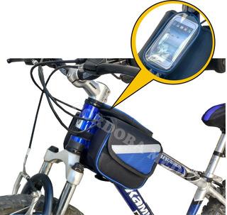 Alforja Doble Bolso Bicicleta Porta Celular Delantero Imperm