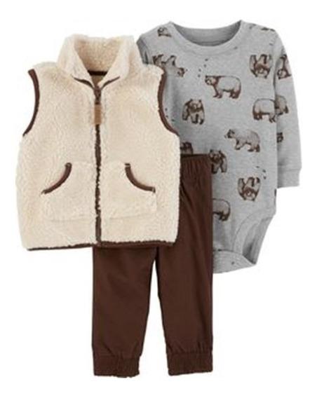 Carters Conjunto Inverno Body Calça Colete Fleece Bebê 3 Pçs