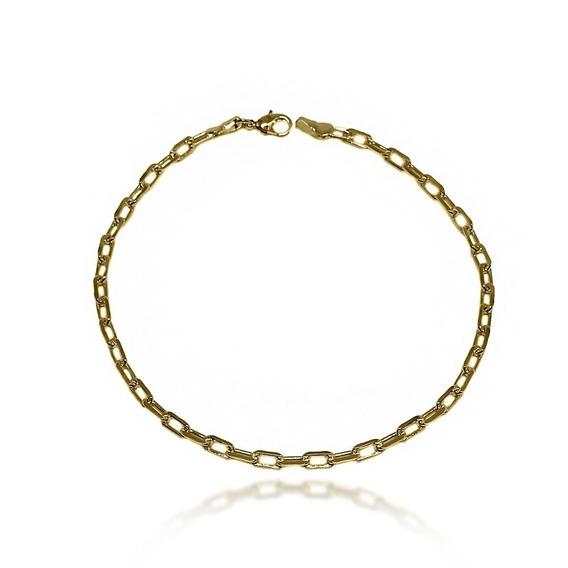 Pulseira Masculina Folheada Ouro Elo Cartier 4mm Unica