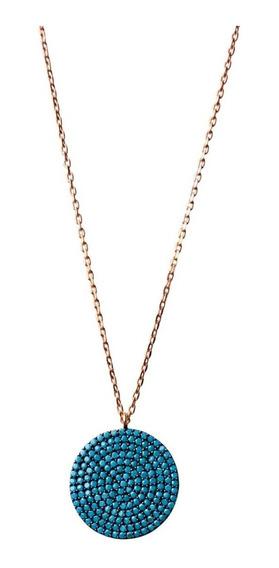 Collar Plata Fina Turca Con Oro Laminado 22k Y Turquesa
