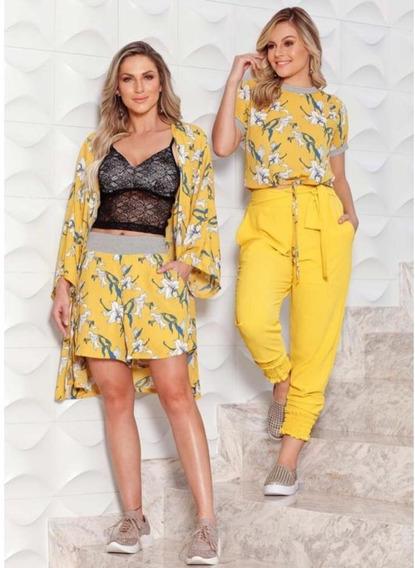 Blusa Cropped Amarelo Estampa Exclusiva Floral Tam P